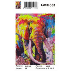 GX31333 картина по номерам Красочный слон 40x50 см