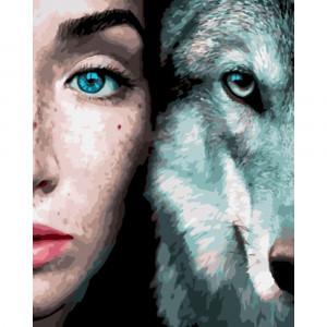 GX33002 /OK 10779 Девушка и волк* картина по номерам 40х50