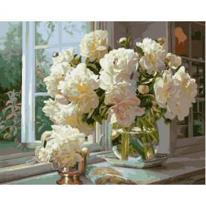 Картина по номерам 40х50 GX 5157 Пионы у окна 40x50 см