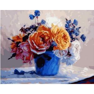 """MCA1407 Картина по номерам """"Букет из васильков и роз"""", 40х50 см"""