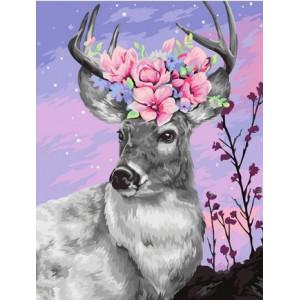 """GX39672 Картина по номерам """"Олень с цветами на рогах"""" 40х50 см"""