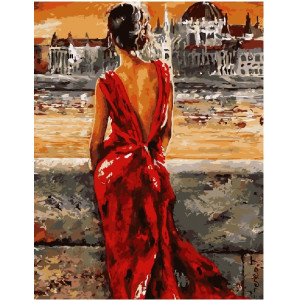 "GX8946 Картина по номерам ""Девушка в красном"", 40х50 см"