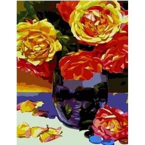 """MCA997 Картина по номерам """"Чайные розы в сиреневой вазе"""",  40х50 см"""