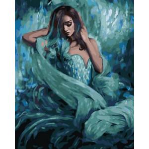 OK10235 Девушка в голубом платье картина по номерам 40х50