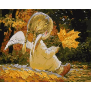 """GХ23273 Картины по номерам """"Девочка-Ангел с листочком"""", 40х50 см"""