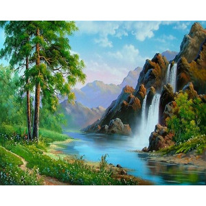 "GX21105 Картина по номерам ""Горный водопад"", 40х50 см"
