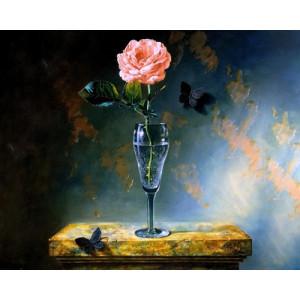 """GX21351 """"Роза в бокале и чёрные бабочки"""", 40х50 см"""