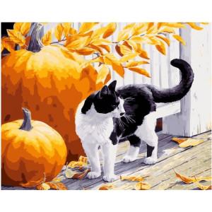 "GX21937 Картина по номерам ""Кот и тыквы"", 40х50 см"