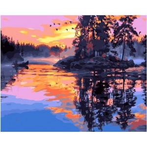"GX21948 Картина по номерам ""Закат на озере"" , 40х50 см"