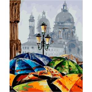 "GX21951 Картина по номерам ""Яркие зонтики"" , 40х50 см"