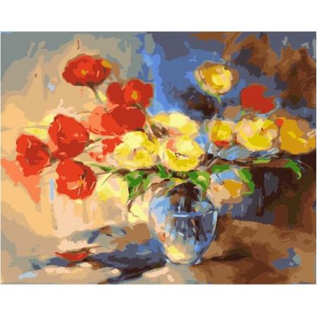 """GX21967 Картина по номерам """"Красные и желтые тюльпаны"""", 40х50"""
