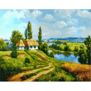 """GX21972 Картина по номерам """"Домик на берегу реки"""", 40х50 см"""