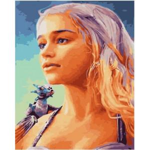 """GX21973 Картина по номерам """"Дейенерис с драконом"""", 40х50 см"""