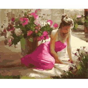 "GX21981 Картина по номерам ""Девушка среди цветов"", 40х50 см"