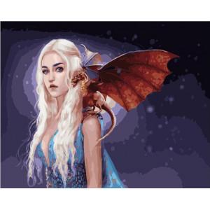 """GX21984 Картина по номерам """"Девушка с драконом"""", 40х50 см"""