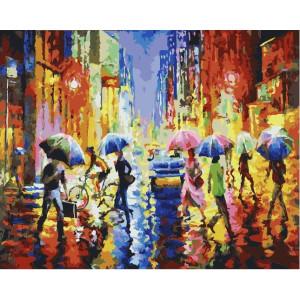 "GX21985 Картина по номерам ""Дождь на улицах города"", 40х50 см"