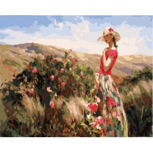 "GX21988 Картина по номерам "" Девушка и розовый куст"", 40х50 см"