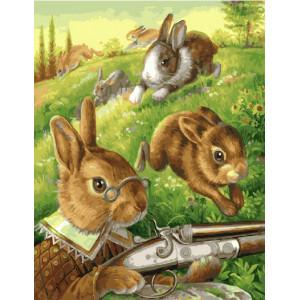 """GX22024 Картина по номерам """"Заяц на охоте"""", 40х50 см"""