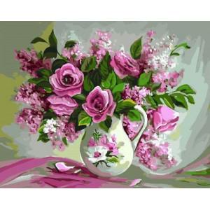 """GX22401 """"Розовые цветы в белом кувшине"""", 40х50 см"""