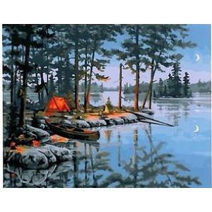 "GX 22459 ""Лодка, палатка, костер у озера"", 40х50 см"