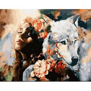 "GX 22471 ""Девушка, волк и розы"", 40х50 см"