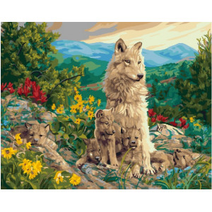 "GX22721 Картина по номерам ""Вочья семья у подножия гор"", 40х50 см"