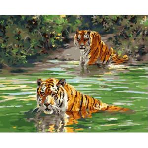 """GX22850 Картина по номерам """"Плывущие тигры"""", 40х50 см"""