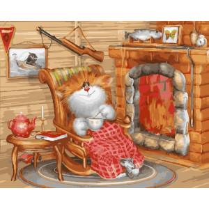 "GX22890 Картина по номерам ""Уютные вечер у камина"", 40х50 см"