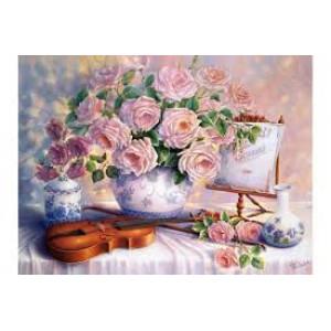 """Q2299 Картина по номерам """"Розы и скрипка"""" 40х50 см"""