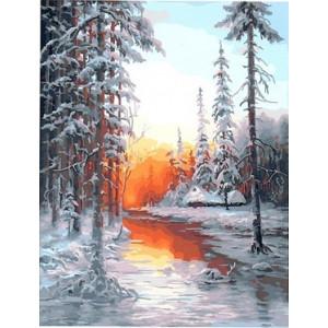 """GX 22997 """"Рассвет в зимнем лесу над рекой"""", 40х50 см"""