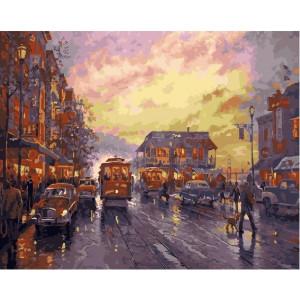 """GX23021 Картина по номерам """"Улицы вечернего города"""", 40х50 см"""
