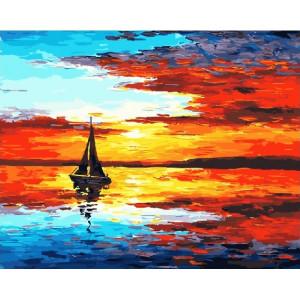 "GX23098 Картина по номерам ""Парусник в лучах заката"", 40х50 см"