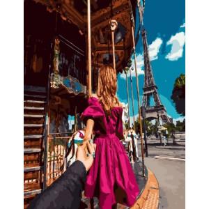 """GX23279 Картина по номерам """"Следуй за мной.Париж"""", 40х50 см"""