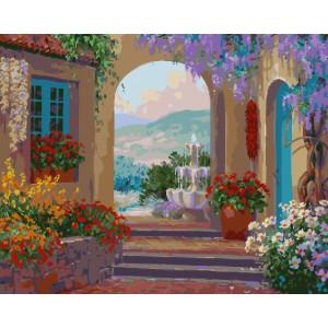 "GX23328 Картина по номерам ""Фонтан у арки"", 40х50 см"
