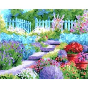 """GX23412 """"Яркие цветы перед забором"""", 40х50 см"""