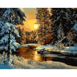 """GX23479 Картина по номерам """"Избушка в зимнем лесу"""" , 40х50 см"""