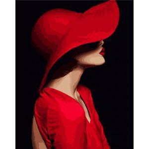 """GX23572 """"Дама в красном на черном"""", 40х50 см"""