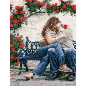 """GX23598 Картина по номерам """"Поцелуй и розы"""" , 40х50 см"""