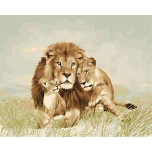 """GX23803 """"Семья львов на траве"""", 40х50 см"""
