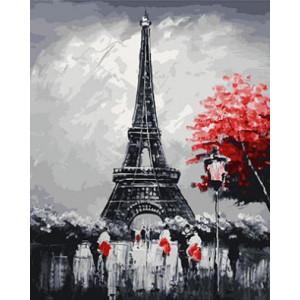 "GX23808 ""Красное дерево у эйфелевой башни"", 40х50 см"