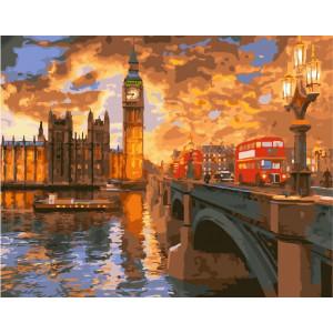 "GX23858 Картина по номерам ""Закат в Лондоне"", 40х50 см"