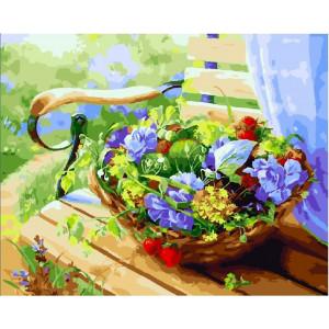 "GX23872 Картина по номерам ""Корзинка с цветами"", 40х50 см"