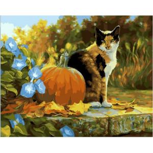"""GХ23898 Картина по номерам """"Кот с осенним урожаем"""", 40х50 см"""