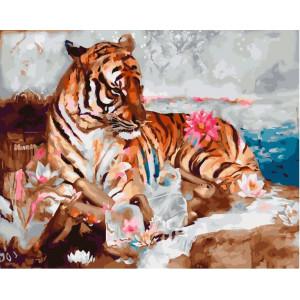 "GХ24006 Картина по номерам ""Девушка с тигром"", худ. Димитра Милан, 40х50 см"