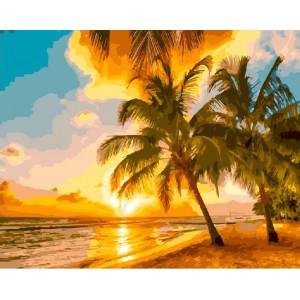 """GХ24014 Картина по номерам """"Пальмы на закате"""", 40х50 см"""
