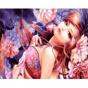 "GХ24030 Картина по номерам ""Гейша с цветами"", 40х50 см"