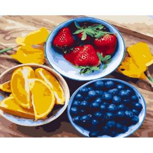 """GХ24032 Картина по номерам """"Ягоды и апельсины"""", 40х50 см"""
