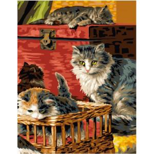 """GX24064 Картина по номерам """"Кошка с котятами"""" , 40х50 см"""