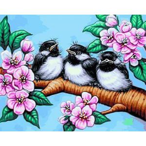 """GX24205 """"Три птенца на цветущей ветке"""", 40х50 см"""