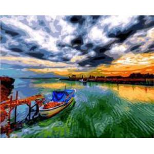 "GX24249 ""Лодка, разноцветный закат"", 40х50 см"